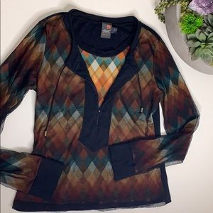 Anac Anthropologie Sheer Overlay Knit Pullover top